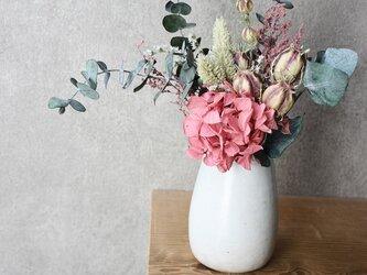 花瓶とブーケのセット(ピンク)の画像