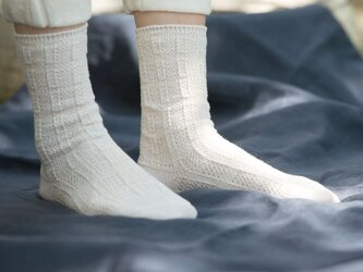 Organic Cotton&Linen レース編みソックス【オフホワイト】の画像