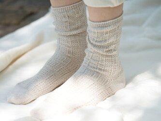 Organic Cotton&Linen レース編みソックス【グレーベージュ】の画像