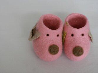 フェルトのベビーブーツ(ワンコ)ピンクの画像