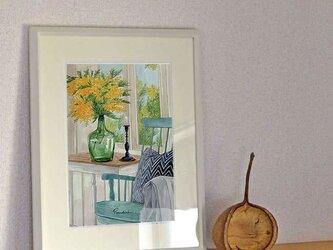 A4ポスター 窓辺のミモザの画像