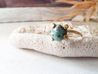 【14号】 turquoise brass ringの画像