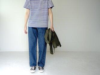 pablo cotton/center back tshirt / blue border/size1・2の画像