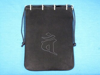 梵字刺繍入り牛革合財袋(大)の画像