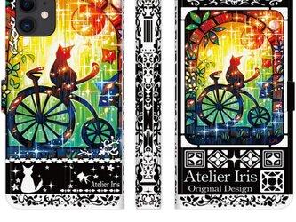 【自転車に乗る夢を見たの】猫 油絵 iPhone 手帳型 スマホケース 携帯ケース 送料無料 黒バージョンの画像