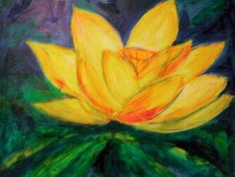 絵画 インテリア キャンバス画 アクリル画 花の絵 ハスの花 ロータス 3の画像