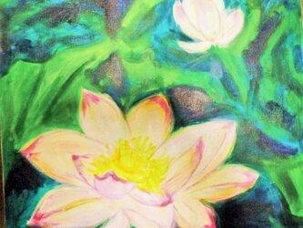 絵画 インテリア キャンバス画 アクリル画 花の絵 ハスの花 ロータス 4の画像