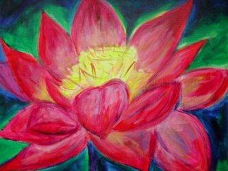 絵画 インテリア キャンバス画 アクリル画 花の絵 ハスの花 ロータス 5の画像