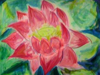 絵画 インテリア キャンバス画 アクリル画 花の絵 ハスの花 ロータス 6の画像