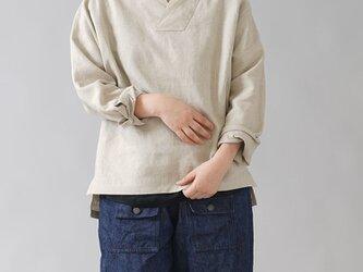 【wafu】和洋折衷 シャツ 着物衿 シャツ袖 トップス wasou 中厚リネン/亜麻ナチュラル t010e-amn2の画像