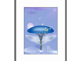 「心の聲と守護の樹」 星 月 羽 ほっこり癒しのイラストA4サイズポスター No.777の画像