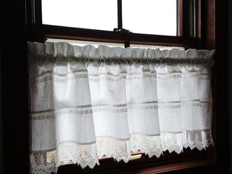 ホワイトコットン♪薔薇のレースのカフェカーテン 114cm×35cmの画像
