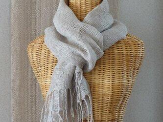 手織りリネンストール・・生成りの画像