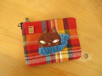 M様ご予約品 猫の(茶色・青マフラー)カードケースの画像