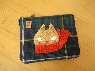 M様ご予約品 猫(薄茶色・赤マフラー)のカードケースの画像