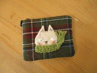 M様ご予約品 猫の(白猫・黄緑マフラー)カードケースの画像