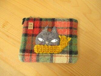M様ご予約品 猫の(グレー・黄色マフラー)カードケースの画像