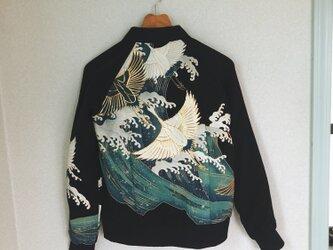 着物リメイクジャンパー(鶴)の画像