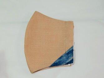 藍染め・立体布マスク(男女兼用)ベージュ×藍の画像