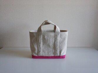 TOTE BAG -bicolor- (M) / ecru × pinkの画像