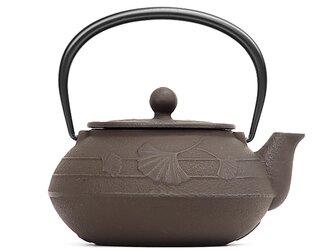 南部鉄器 ティーポット 急須 5型銀杏(こげ茶)0.65L 内面・蓋裏ホーロー加工の画像