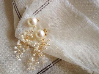 スパークリング パールの耳飾り 貝パール ☆ 14kgfポスト ☆イヤリング変更可の画像