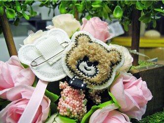 クマのさん★もこもこ布製ループ付バッチ★刺繍刺繍アップリケ★茶p4-1枚の画像