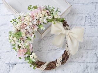 クレッセント☽あわく はんなりと ちいさな花のハーフリース:母の日フラワー 母の日 ウェディング ピンク 白の画像