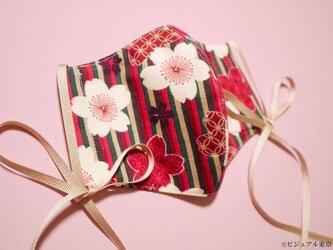 ジャポニスムマスク 大正ロマン柄 | 和柄 フィルターポケット付き3Dマスク | 桜 ピンクの画像