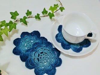 手編みコースター(藍染)の画像