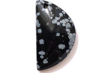 穴あき・スノーフレークオブシディアン[22] 20Cts 29x16mm /天然石 / カボションの画像