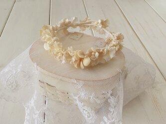 ドール用染め花の花冠(M・アンティークホワイト)の画像
