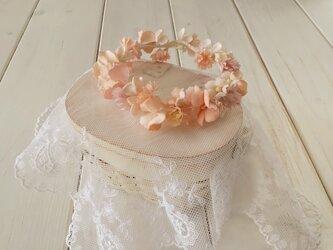 ドール用染め花の花冠(M・サーモンピンク)の画像