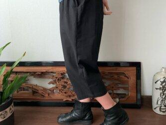 ヒップビックポケット手織り綿サルエルパンツ 黒無地の画像