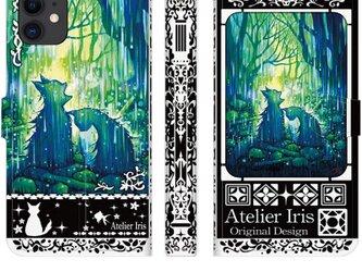 【おかえり】猫 油絵 iPhone 手帳型 スマホケース 携帯ケース 送料無料 黒バージョンの画像