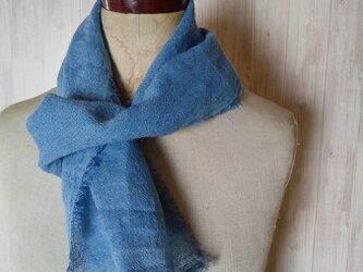 ふんわり♪1枚でリネンとウールのいいところどりミニストール 草木染め インド藍染*の画像