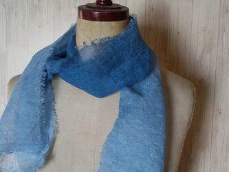 再販 ふんわり柔らか♪ グラデーション リネンガーゼミニストール 草木染め 藍染め*の画像