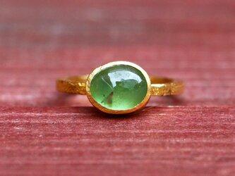 古代スタイル*天然グリーンサファイア 指輪*7号 GPの画像
