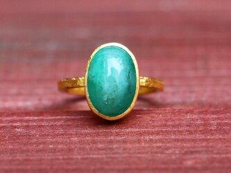 古代スタイル*天然エメラルド 指輪*7号 GPの画像