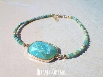 *14kgf*Mermaid Lagoon Drusy チタニアムクリスタル&ターコイズブレスレットの画像
