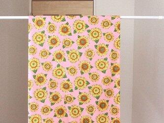 暖簾 カフェカーテン 間仕切り製作も可 ひまわり ピンク色 の画像