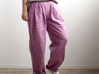 【wafu】超高密度リネン 2タック ボールパンツ 男女兼用 やや薄地 60番手/藤色(ふじいろ) b010i-fji1の画像