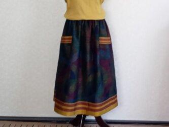 着物リメイク♪大島紬と十日町紬で裾とポケットの縞柄がポイント:オシャレスカート(裏地付き)丈78cmの画像