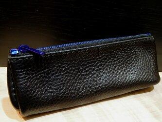 ダイアゴナル ペンポーチ S (BK×BK BLファスナー) ポーチ ペンケース レザーポーチ 手縫い YKK 牛革 エクセラの画像