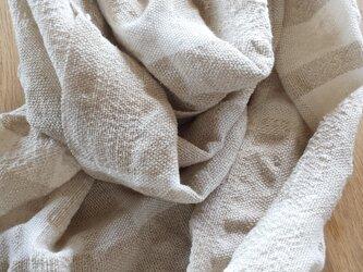 【手織り】生成りのストール#01の画像