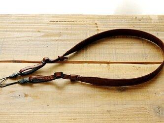 《Horse Leather》スリムカメラストラップ  チョコブラウン アジャスター付きの画像