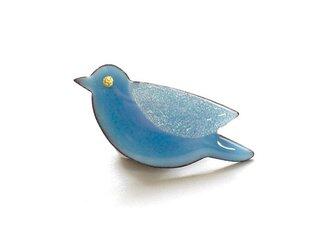 七宝焼ブローチ 青い鳥 (青空)の画像