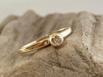 天然ダイアモンド◇K10ゴールドリング◇7号の画像