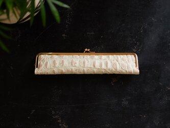 スタイリッシュな大人の扇子ケース/22cm/クロコ型押し本革の画像