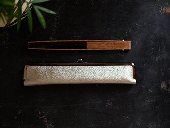 スタイリッシュな大人の扇子ケース/24cm/本革の画像